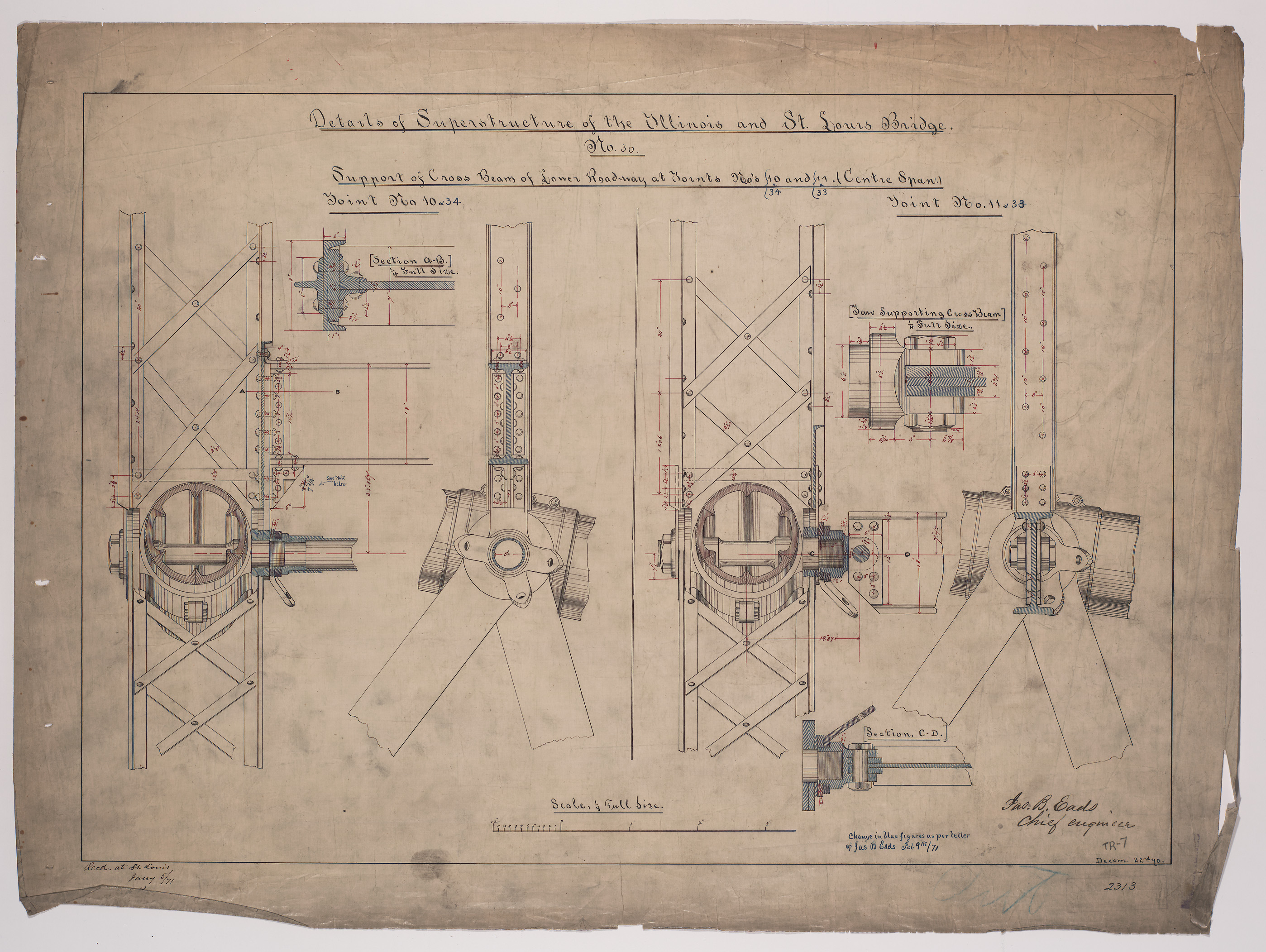 Detailed drawing of engineering plans